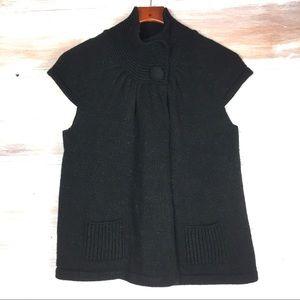 Lucy & Laurel Black Short sleeve Cardigan Sweater